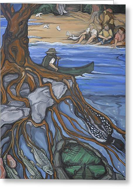 Agate Beach Paintings Greeting Cards - Northland Greeting Card by Cait Irwin