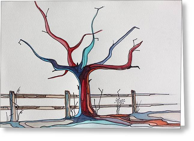 Tree Roots Paintings Greeting Cards - Roots Greeting Card by Pat Purdy