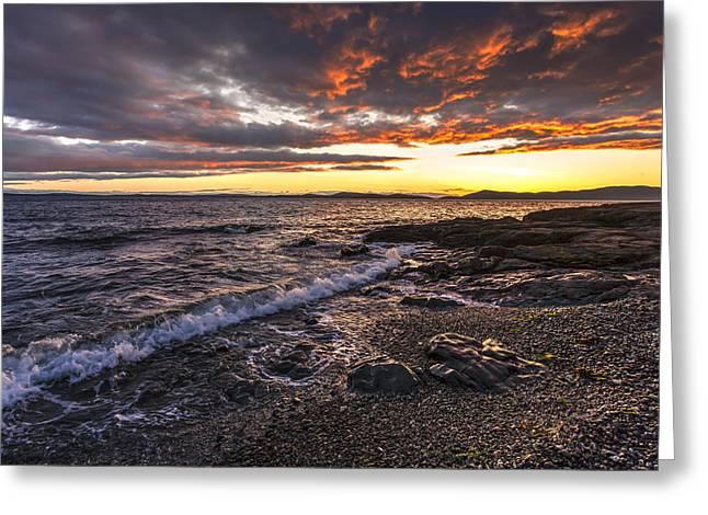 Mike Reid Greeting Cards - Northwest Beach Sunset Greeting Card by Mike Reid