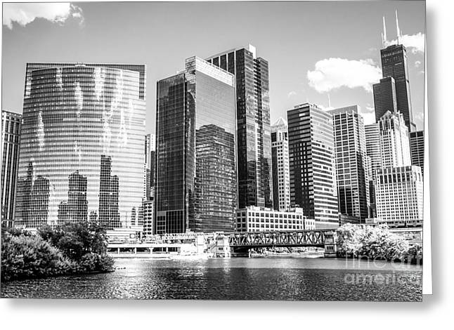 Famous Bridge Greeting Cards - Northwest Chicago Loop Buildings Black and White Photo Greeting Card by Paul Velgos