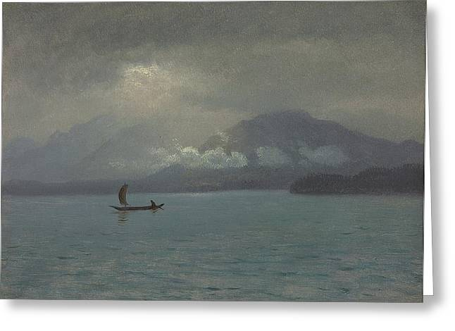 Strike Paintings Greeting Cards - Northwest Coast Greeting Card by Albert Bierstadt