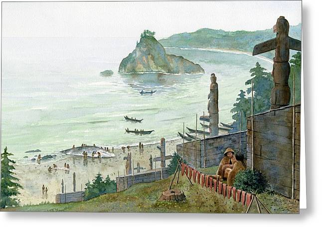 Salmon Paintings Greeting Cards - Northwest Coat Village of American Indians Greeting Card by Rob Wood