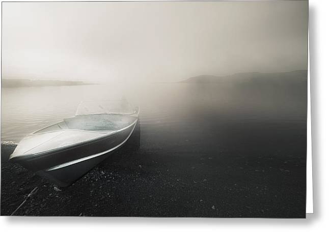 Foggy Beach Greeting Cards - Northwest Territories, Canada A Boat On Greeting Card by Darren Greenwood