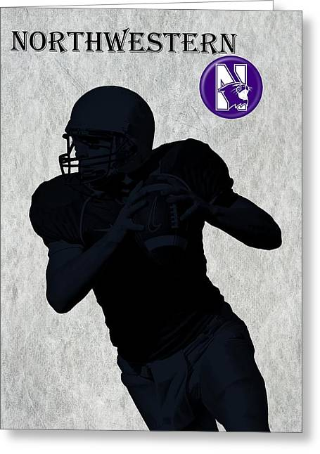 Penn Digital Art Greeting Cards - Northwestern Football Greeting Card by David Dehner