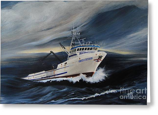Deadliest Catch Greeting Cards - Northwestern Greeting Card by Rhonda Shelford Jansen  - RSJ