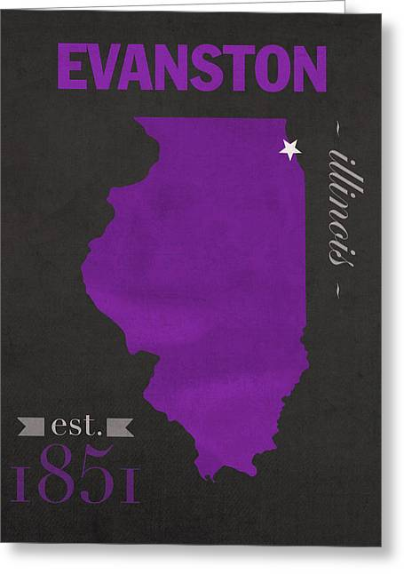 Evanston Greeting Cards - Northwestern University Wildcats Evanston Illinois College Town State Map Poster Series No 080 Greeting Card by Design Turnpike