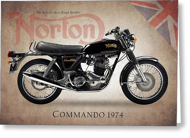 Motorcycle Greeting Cards - Norton Commando 1974 Greeting Card by Mark Rogan