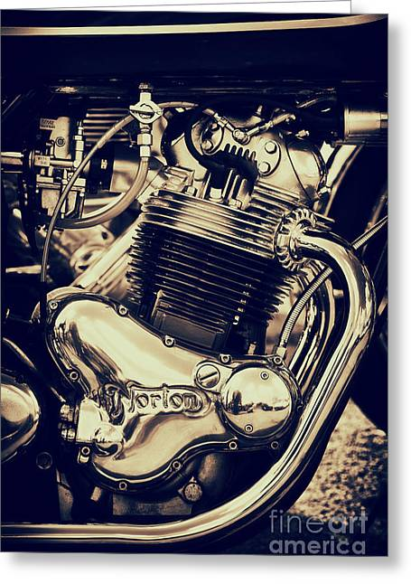Monochrome Greeting Cards - Norton Commando 750cc Engine Greeting Card by Tim Gainey