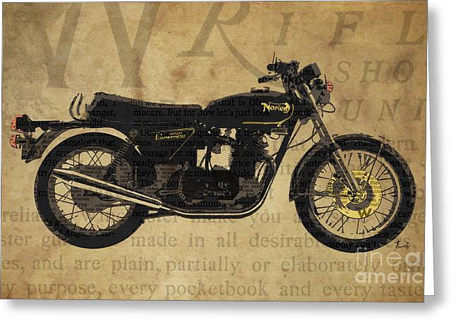 Home Decor Posters Mixed Media Greeting Cards - Norton Commando 850 1973 and the newspaper collage Greeting Card by Pablo Franchi