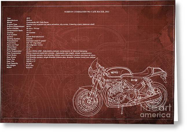 Norton Commando 961 Cafe Racer 2011 Technical Specifications Greeting Card by Pablo Franchi