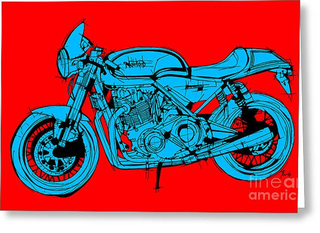 Norton Commando Blue And Red Greeting Card by Pablo Franchi