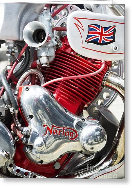 Racing Bike Greeting Cards - Norton Custom Cafe Racer Engine Greeting Card by Tim Gainey