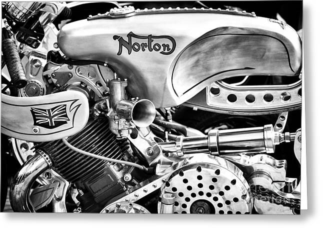 Chrome Greeting Cards - Norton Custom Cafe Racer Monochrome Greeting Card by Tim Gainey