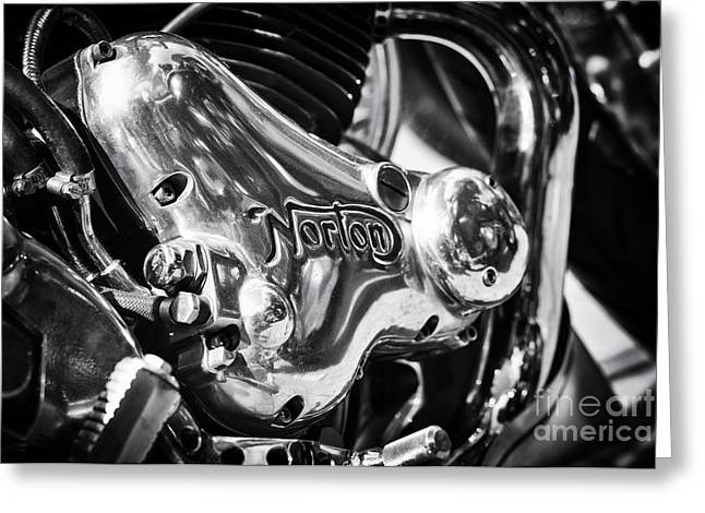 Racing Bike Greeting Cards - Norton Engine Casing Greeting Card by Tim Gainey