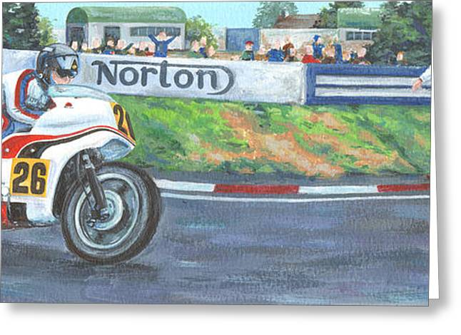 Street Race Greeting Cards - Norton Greeting Card by Peter Adderley