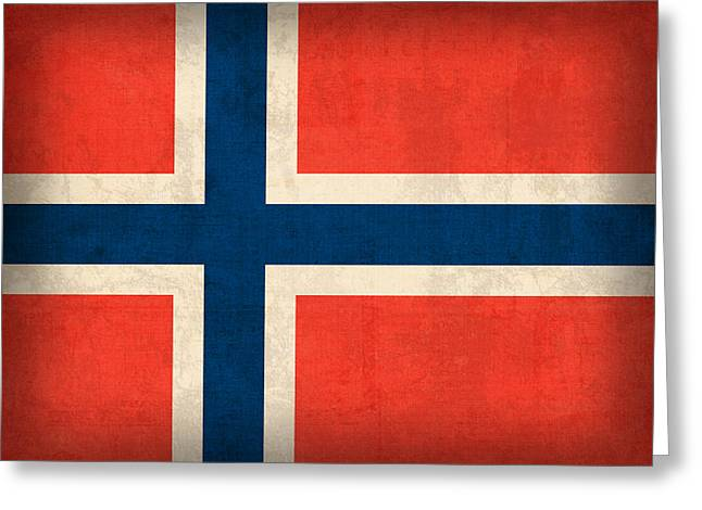 Scandinavian Greeting Cards - Norway Flag Distressed Vintage Finish Greeting Card by Design Turnpike