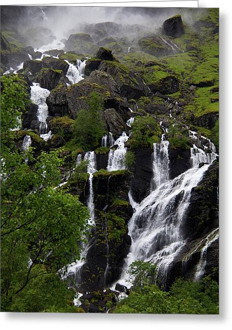 Norway, Flam Lush Waterfall In Flam Greeting Card by Kymri Wilt