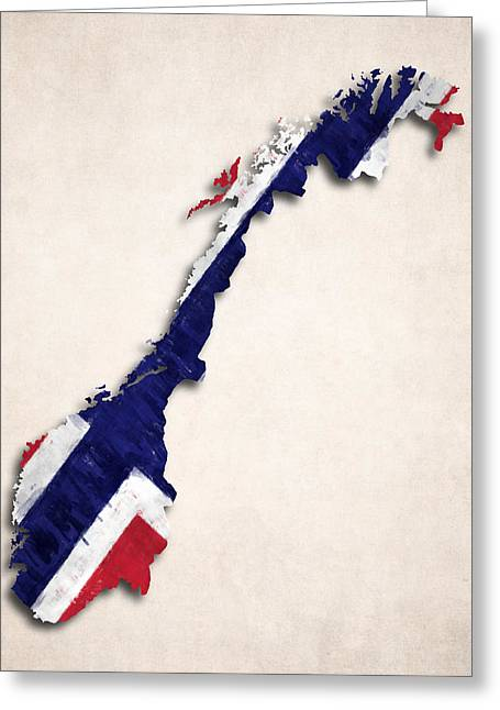 Atlas Greeting Cards - Norway Map Art with Flag Design Greeting Card by World Art Prints And Designs