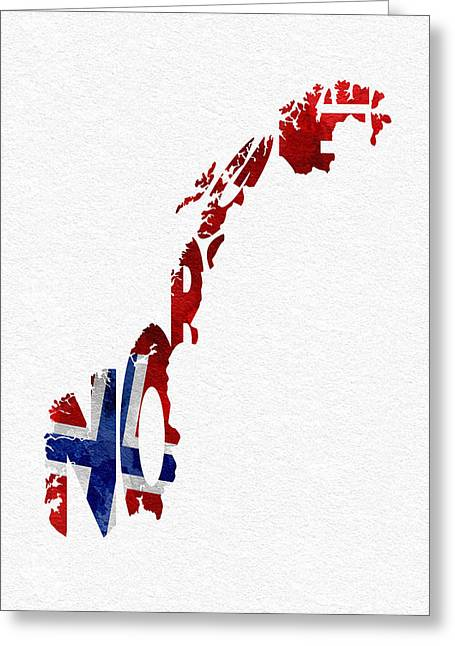 Norway Typographic Map Flag Greeting Card by Ayse Deniz