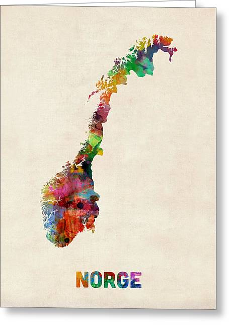 Urban Watercolor Greeting Cards - Norway Watercolor Map Greeting Card by Michael Tompsett