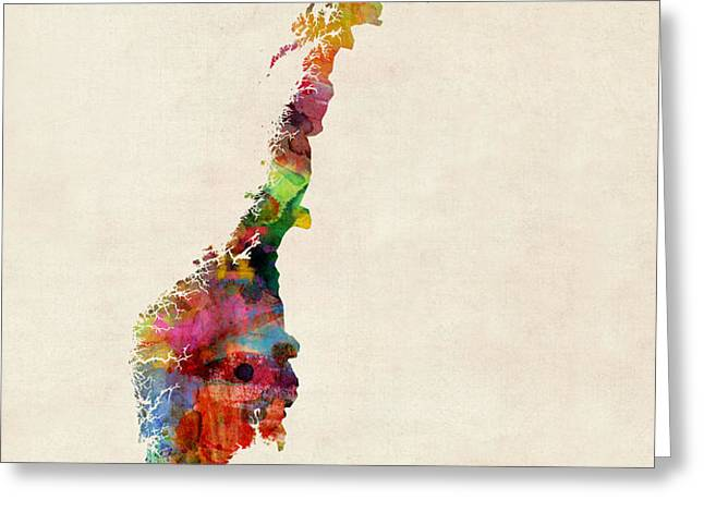 Norway Watercolor Map Greeting Card by Michael Tompsett