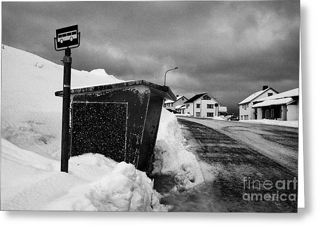 Busstop Greeting Cards - norwegian bus stop shelter covered in snow by the side of the road Honningsvag finnmark norway europ Greeting Card by Joe Fox