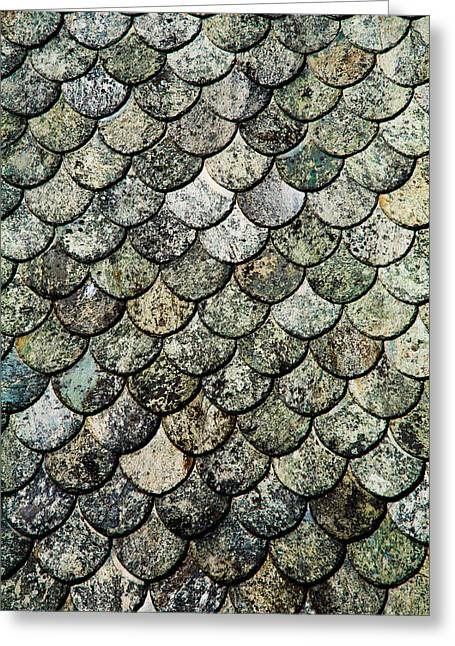 Fish Scales Greeting Cards - Norwegian Fish Scale Pattern Slate Roof Greeting Card by Hakon Soreide