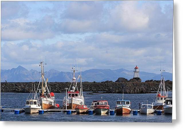 Norwegian Lighthouse Greeting Cards - Norwegian fishing port Greeting Card by Intensivelight