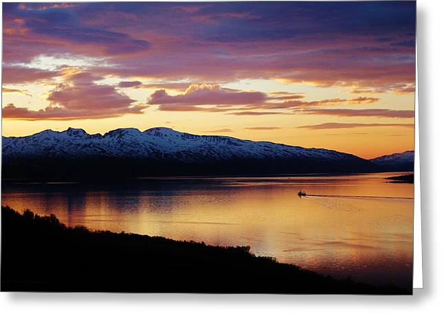 Norwegian Sunset Greeting Cards - Norwegian Fjordland Sunset Greeting Card by David Broome