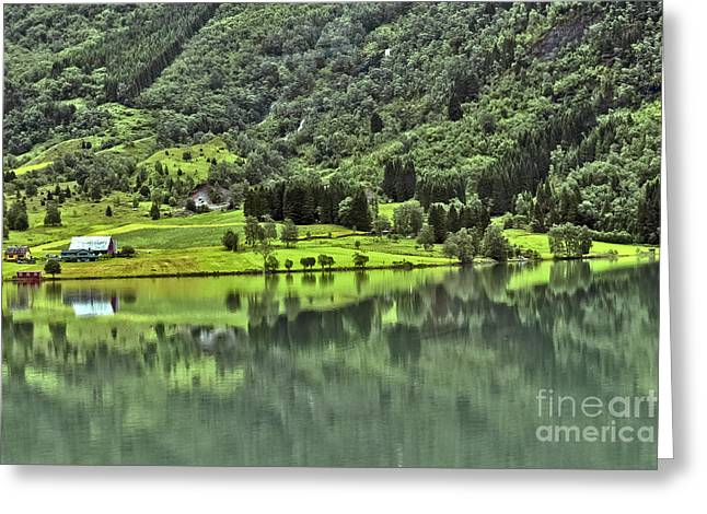 Mountain Valley Greeting Cards - Norwegian Landscape Greeting Card by Beth Wolff