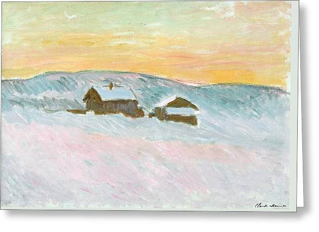 Norwegian Landscape, Blue Houses, 1895 Greeting Card by Claude Monet