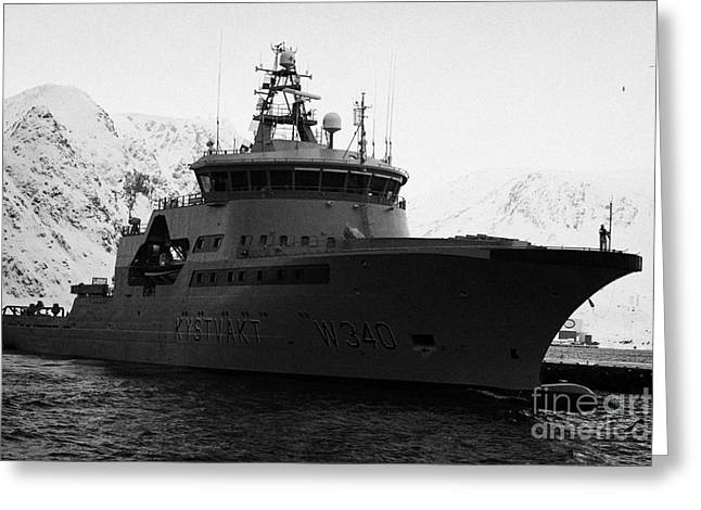 Norwegian Coast Greeting Cards - norwegian navy coastguard ship w340 barents sea Honningsvag finnmark norway europe Greeting Card by Joe Fox