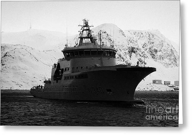 Norwegian Coast Greeting Cards - norwegian navy coastguard ship w340 barents sea Honningsvag Greeting Card by Joe Fox