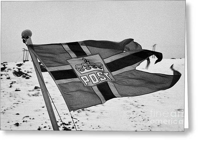 Norwegian Coast Greeting Cards - Norwegian Post Flag Flying On Stern Of Hurtigruten Coastal Ship Havoysund Finnmark Norway Europe Greeting Card by Joe Fox