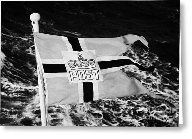 Postal Greeting Cards - Norwegian Post Postal Flag On A Ship Carrying Mail Norway Europe Greeting Card by Joe Fox