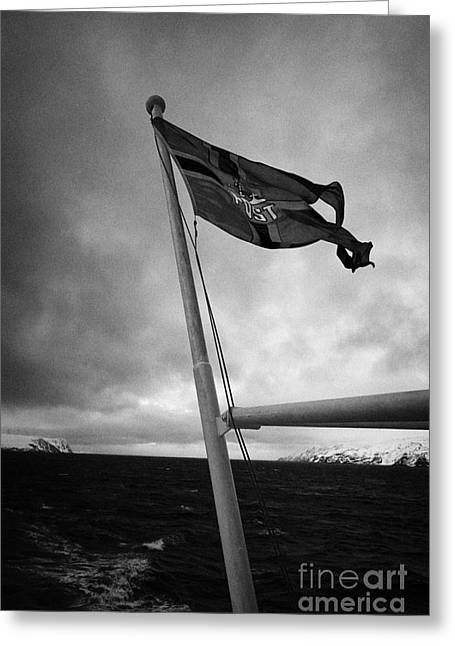 Postal Greeting Cards - Norwegian Post Postal Flag On A Ship Carrying Mail On A Cold Overcast Day At Sea Norway Greeting Card by Joe Fox