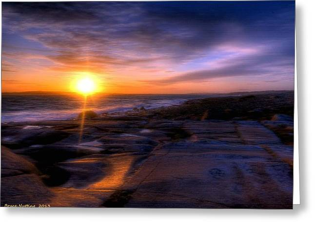 Norwegian Sunset Paintings Greeting Cards - Norwegian Sunset Greeting Card by Bruce Nutting