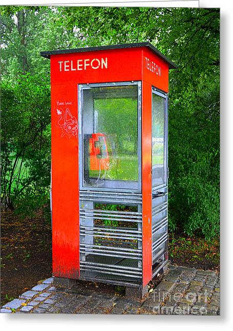 Oslo Greeting Cards - Norwegian Telephone Booth Greeting Card by Catherine Sherman