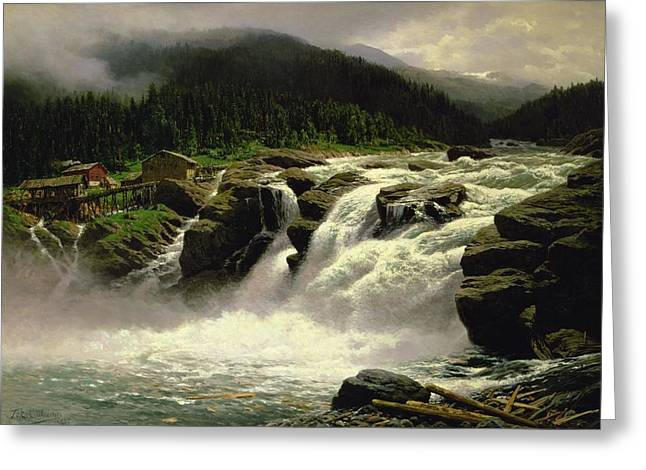 Scandinavia Greeting Cards - Norwegian Waterfall Greeting Card by Karl Paul Themistocles van Eckenbrecher