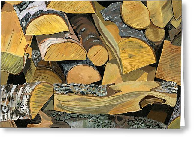Log Cabin Interiors Greeting Cards - Norwegian Wood 1 Greeting Card by Jane Dunn Borresen