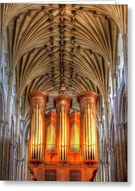 Pipe Organ Greeting Cards - Norwich Cathedral Greeting Card by Jenny Setchell