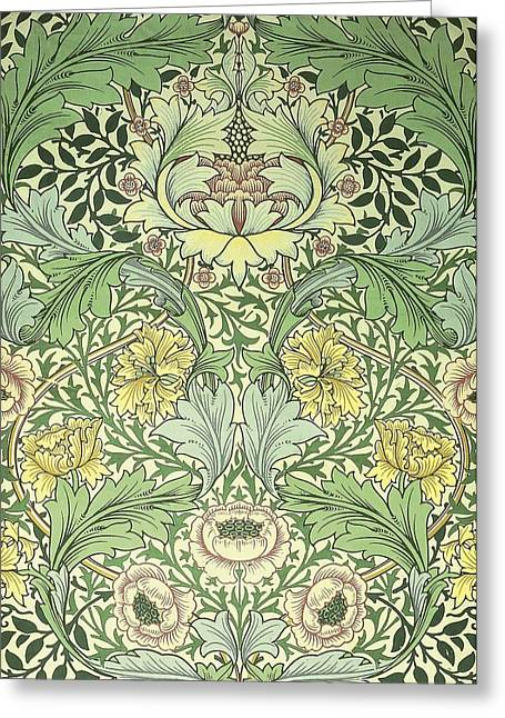 Print Tapestries - Textiles Greeting Cards - Norwich Pattern Greeting Card by William Morris