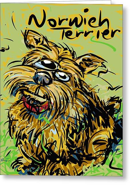 House Pet Drawings Greeting Cards - Norwich Terrier Greeting Card by Brett LaGue