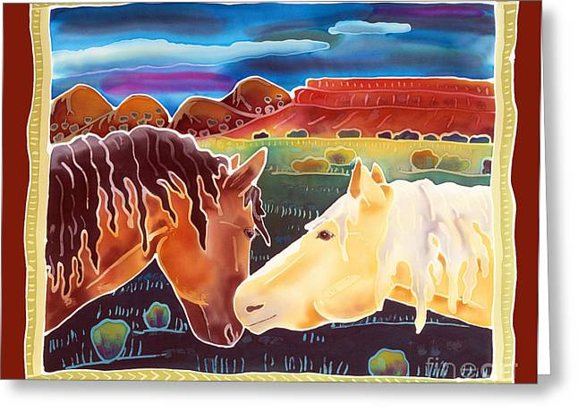 Wild Horses Greeting Cards - Nose to Nose Greeting Card by Harriet Peck Taylor