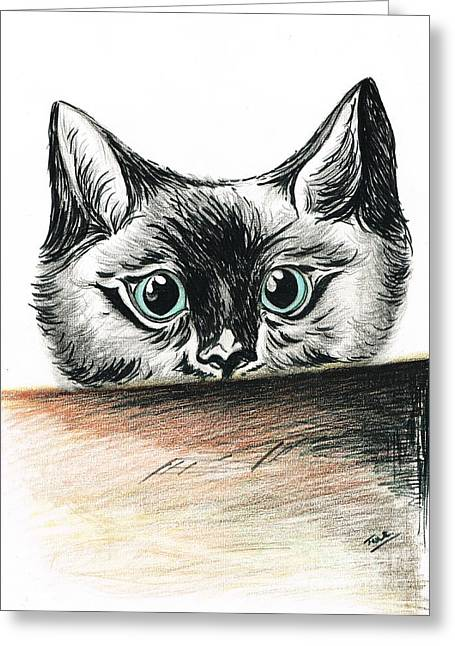 Tom Boy Drawings Greeting Cards - Nosey Boy Greeting Card by Teresa White