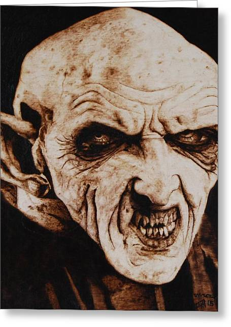 Woodburnings Pyrography Greeting Cards - Nosferatu Greeting Card by Invictus IA