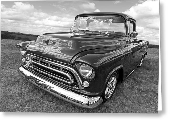 Lowrider Greeting Cards - Nostalgia - 57 Chevy in Black and White Greeting Card by Gill Billington