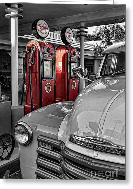 Petrol Station Greeting Cards - Nostalgia At The Pump Greeting Card by Lee Dos Santos