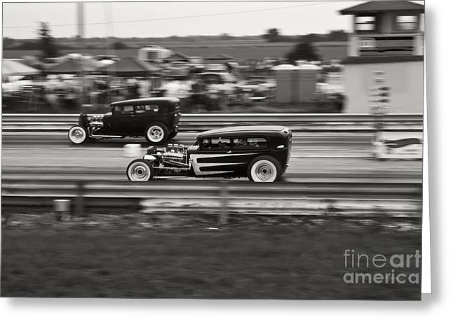 Dragway Greeting Cards - Nostalgia Drag Racing Greeting Card by Dennis Hedberg