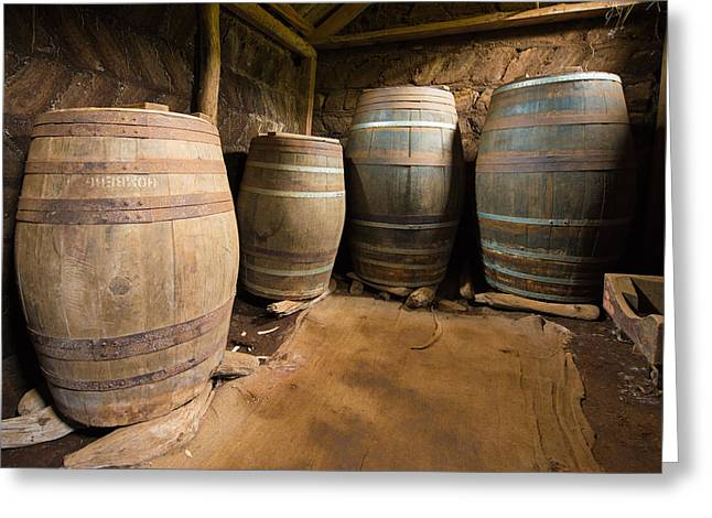 Old Barrels Greeting Cards - Nostalgia - Old barrels in a farm Greeting Card by Matthias Hauser